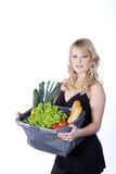 Woman with vegetables and fruit Royalty Free Stock Photos