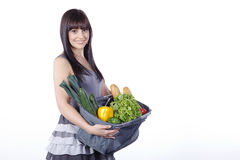 Woman with vegetables and fruit Royalty Free Stock Photo