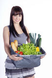 Woman with vegetables and fruit Royalty Free Stock Image