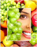 Woman, vegetables and fruits Royalty Free Stock Photo