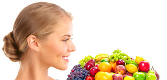 Woman, vegetables and fruits Royalty Free Stock Images