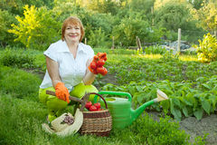 Woman in vegetables garden Royalty Free Stock Images
