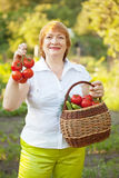 Woman with vegetables harvest Royalty Free Stock Photos
