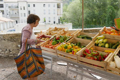 Woman in vegetables market stock image