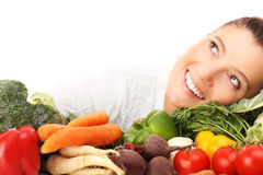 Woman and vegetables stock photos