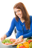 Woman with vegetarian salad Stock Photo