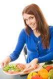 Woman with vegetarian salad stock photo