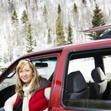 Woman in vehicle. Stock Photos