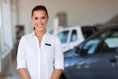Woman vehicle showroom Royalty Free Stock Photography
