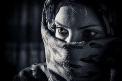 Woman with veil. In black and white Royalty Free Stock Image