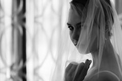 Woman and veil Royalty Free Stock Image