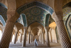 Woman in Veil Passing through Shabestan of Vakil Mosque in Shiraz Royalty Free Stock Image