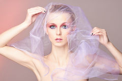 Woman,veil,Valentine`s Day make-up Royalty Free Stock Images