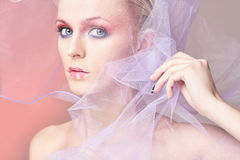 Woman,veil,Valentine`s Day make-up Royalty Free Stock Photo