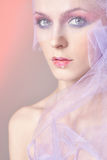 Woman,veil,Valentine`s Day make-up Stock Photos