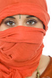 Woman veil. Young woman with a veil, close up portrait, studio picture Stock Photo