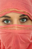 Woman veil. Young woman with a veil, close up portrait, studio picture Royalty Free Stock Photo