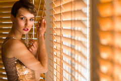 Woman and venetian blind Stock Photography