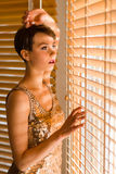 Woman and venetian blind Royalty Free Stock Image