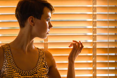Woman and venetian blind Royalty Free Stock Photos