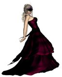 Woman in Venetian Carnival Mask and Ball Gown. Young woman wearing a ball gown and Venetian carnival mask, 3d digitally rendered illustration Royalty Free Stock Images