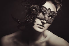 Woman with Venetian mask Stock Image