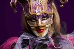 Woman in venetian mask Royalty Free Stock Images