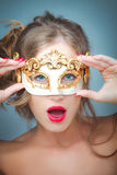 Woman with venetian mask Stock Photos