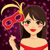 Woman Venetian Mask. Beautiful young woman holding Venetian mask celebrating carnival party royalty free illustration
