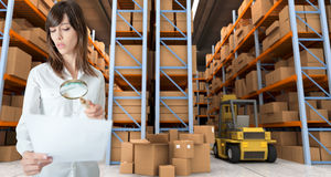 Woman verifying document in warehouse Royalty Free Stock Photos