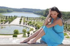 Woman in Versailles gardens France Stock Photography