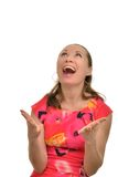 The woman is very emotionally rejoices luck Royalty Free Stock Image