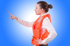 Woman in vest pressing Stock Photography