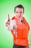 Woman in vest pressing virtual buttons Stock Images