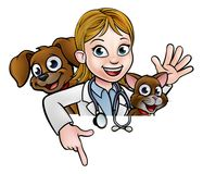 Woman Vet Cartoon Character Pointing Sign. A cartoon female vet character with pet cat and dog animals above sign pointing Royalty Free Stock Photo