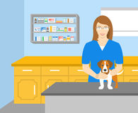 Woman veterinarian holding a dog in veterinary office Royalty Free Stock Photography
