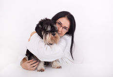 Woman veterinarian with Miniature schnauzer Royalty Free Stock Images