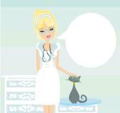 Woman veterinarian treated the cat. Illustration Royalty Free Stock Photos