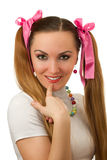Woman with  vibrant Make-up wearing pink satiny ri Royalty Free Stock Photography