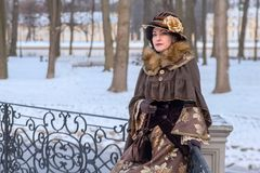 Woman in Victorian clothes stock image