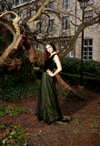 Woman in Victorian dress in the park. Girl in profile  in a green Victorian dress in the park in front of a house and trunks of trees Royalty Free Stock Images
