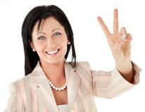 Woman victory peace sign Stock Photo