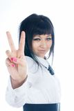 Woman with victory sign Stock Image
