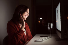 Woman in video call Stock Image