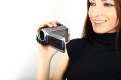 Woman and video camera Stock Photo