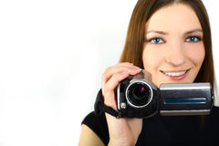 Woman and video camera Royalty Free Stock Image