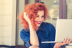 Woman video chatting royalty free stock images
