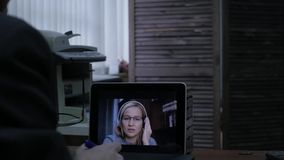 Woman video conferencing with tutor on laptop at home. Distance education concept. on-line education at home. 4K. Woman video conferencing with tutor on laptop stock footage