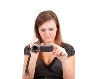 Woman with a videocamera,isolated. Royalty Free Stock Photo