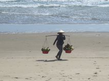 A woman in a Vietnamese hat is walking along a sandy beach with two baskets of fruit stock images